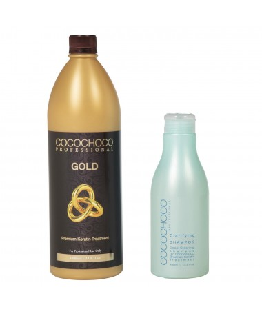Gold Brazilian Keratin 1000ml + Clarifying Shampoo 400ml COCOCHOCO