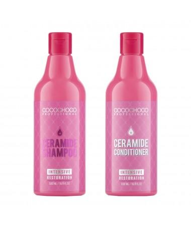 Shampooing céramide + Conditionneur céramide pour cheveux secs et cassants 500ml COCOCHOCO