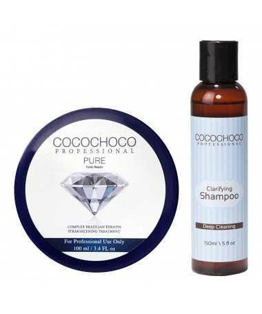 COCOCHOCO Professional Pure Brazilian Keratin Hair Treatment 1000ml + COCOCHOCO Pre treatment Clarifying shampoo 400ml