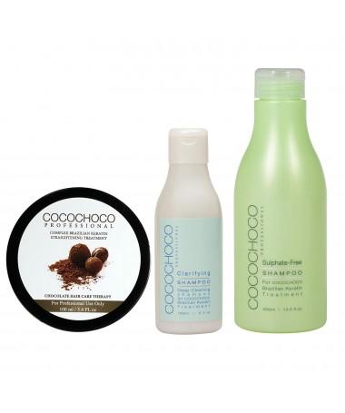 Brasilianisches Keratin Original 100ml + Reinigungs Shampoo 150ml + Sulfatfreies Shampoo 400ml COCOCHOCO