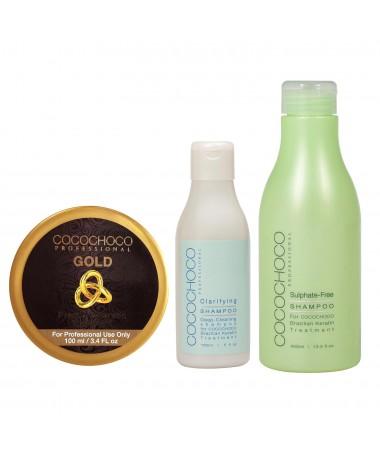 Бразильский кератин Gold 100 мл + Очищающий шампунь 150 мл + Шампунь без сульфатов 400 мл COCOCHOCO