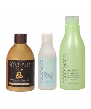 Brazilský keratin Gold 250ml + Čistící šampon 150ml + Bezsulfátový šampon 400ml COCOCHOCO