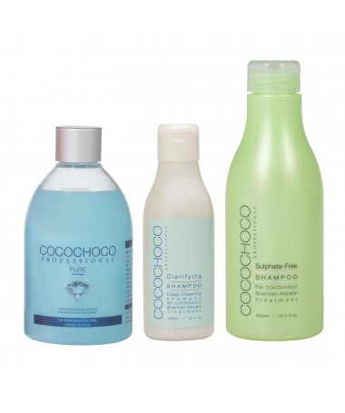 Kératine brésilienne Pure 250ml + Shampooing nettoyant 150ml + Shampooing sans sulfate 400ml COCOCHOCO