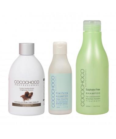 Brazilský keratin Original 250ml + Čistící šampon 150ml + Bezsulfátový šampon 400ml COCOCHOCO