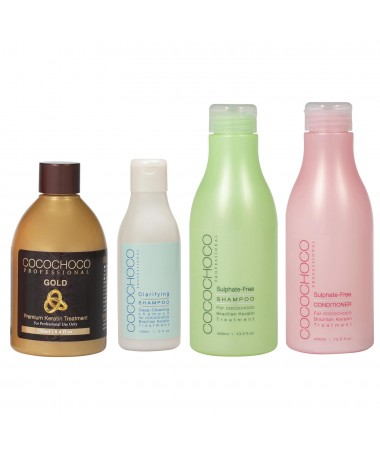 Gold Brazilian Keratin 250ml + Clarifying Shampoo 150ml + Sulphate-Free Shampoo 400ml + Professional Conditioner 400ml COCOCHOCO