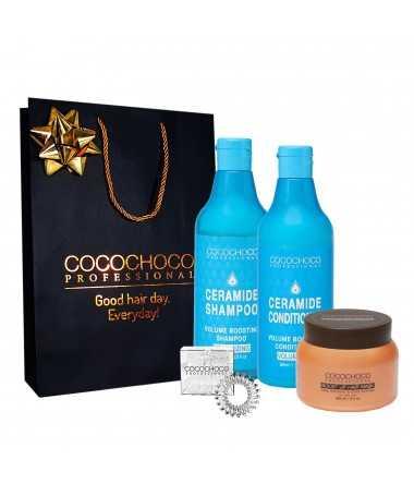 Geschenkset - Ceramid Shampoo + Konditioner 500ml für Haarvolumen + Boost up maske 250ml COCOCHOCO
