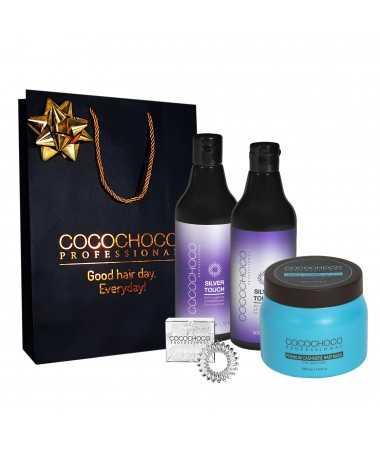 Geschenkset - Anti-Yellow sulfatfreies Shampoo + Conditioner Silver Touch 500ml + Kaschmir-Maske 500ml COCOCHOCO