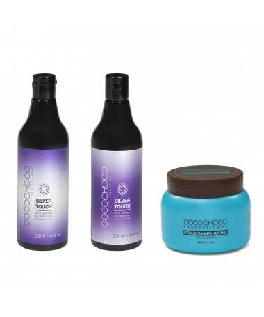 Anti-Yellow sulfaatvrije shampoo + conditioner Silver Touch 250ml + Kasjmiermasker 250ml COCOCHOCO