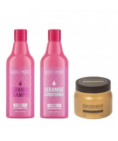 Ceramide šampon + kondicionér 500ml pro suché a lámavé vlasy + keratin vlasová maska 500ml COCOCHOCO